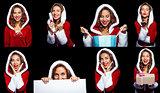 Collage of pretty santa girl