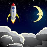 Rocket spaceship in sky