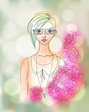 Creative Watercolor Vector Hipster Girl Portrait