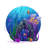 Illustration of underwater rocks with seaweed and fish fun