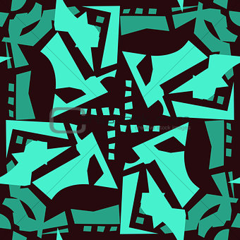 Abstract Leaves in Seamless Pattern