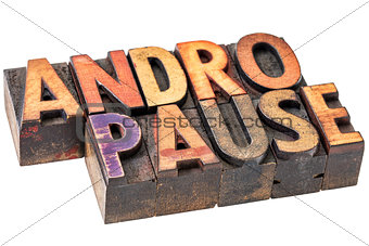andropause word in wood  type