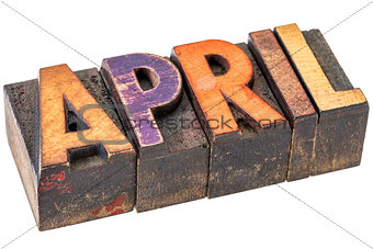 April month in wood type