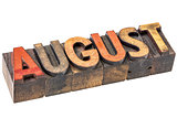 August month in wood type
