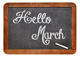 Hello March sign on blackboard