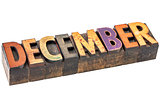December month in wood type