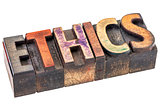 ethics word in vintage wood type