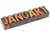 January month in wood type