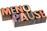 menopause word in wood type