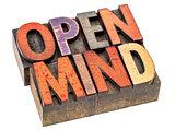 open mind in vintage wood type