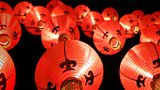Colorful lanterns at night ( Tang Lung ) - Chinese New Year decorations