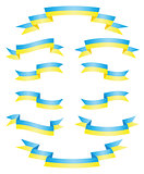 Set Ukrainian ribbons vector