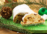 traditional Christmas dessert Stollen with raisins and marzipan