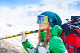 Healthy sportive skier woman