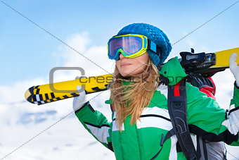 Skier girl portrait