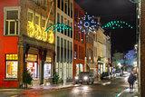 Christmas street at Bruges, Belgium