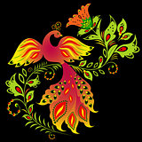 Colorful bird and flower