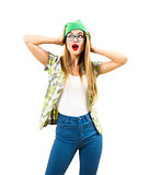 Surprised Hipster Girl Holding Hands on Her Head Isolated