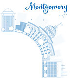 Outline Montgomery Skyline with Blue Building and copy space