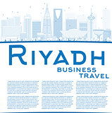Outline Riyadh skyline with blue buildings