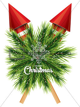 Christmas card with white snowflake, pine branch and red rockets