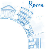 Outline Rome skyline with blue landmarks and copy space