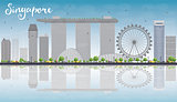 Singapore skyline with grey landmarks, blue sky and reflections