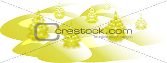 Card with golden Christmas trees. Christmas greeting. EPS10 vector illustration