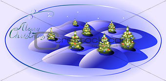 Card with green Christmas trees. Christmas greeting. EPS10 vector illustration