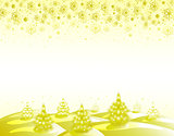 The background golden landscape with Christmas trees and snowflakes. EPS10 vector illustration