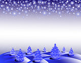 The background winter landscape with Christmas trees and snowflakes. EPS10 vector illustration