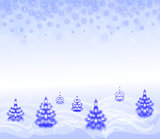 Landscape with Christmas trees and snowflakes. EPS10 vector illustration