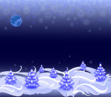 Night landscape with Christmas trees and snowflakes. EPS10 vector illustration