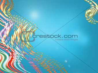 Beautiful blue background and colour waves