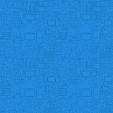 Blue Thin Line Internet of Things Seamless Pattern