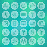 Line Circle Smart House Icons Set