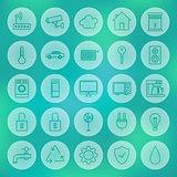 Line Circle Smart House Icons Set