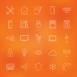 Smart Home Technology Line Icons Set over Blurred Background