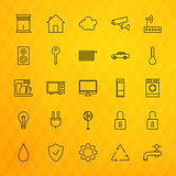 Smart House Technology Line Icons Set over Polygonal Background