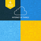 Thin Line Art Internet of Things Pattern Set