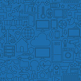 Thin Line Internet of Things Seamless Dark Blue Pattern