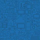 Thin Line Internet of Things Seamless Dark Blue Pattern