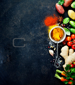 Fresh  ingredients on dark background