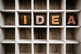 Idea Concept Wooden Letterpress Type in Draw