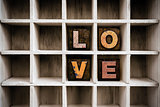 Love Concept Wooden Letterpress Type in Drawer