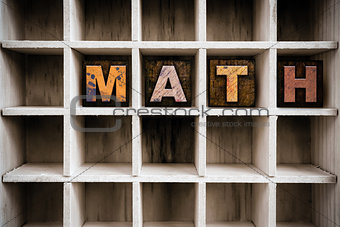 Math Concept Wooden Letterpress Type in Drawer