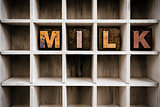 Milk Concept Wooden Letterpress Type in Drawer