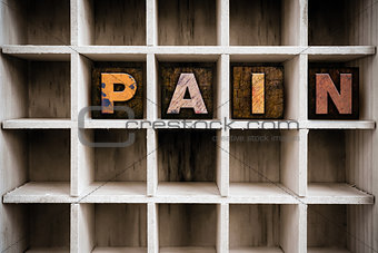 Pain Concept Wooden Letterpress Type in Drawer
