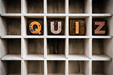 Quiz Concept Wooden Letterpress Type in Drawer