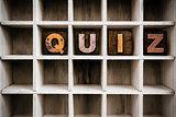 Quiz Concept Wooden Letterpress Type in Drawer